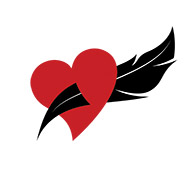 Patty's logo image--heart with feather pen